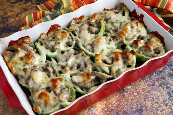 Philly Cheesesteak Stuffed Peppers Ready To Be Served.