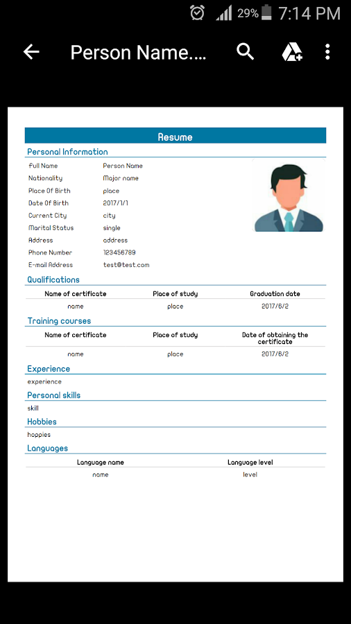 cv editor resume screenshot