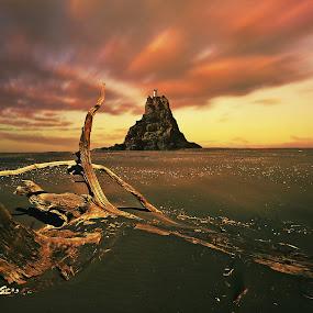 Nine Pin Rock by Jomy Jose - Landscapes Beaches ( auckland, newzealand, lighthouse, beach, waitakere ranges, nine pin rock )