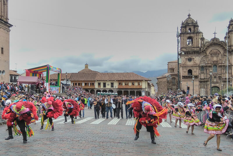 carnival+cuzco+dance+traditional+plaza+de+armas+cusco+central+square+Iglesia+de+Compañía+de+Jesús+Church+Society+jesus+church+Cusco+inca+cusco+peru+south+america