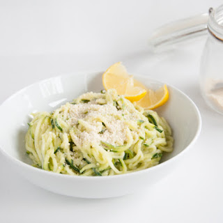 Raw & Vegan Zucchini Pasta with Avocado Sauce.