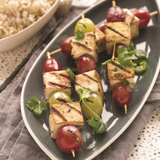 Grilled Asian Tofu and Grape Kebabs