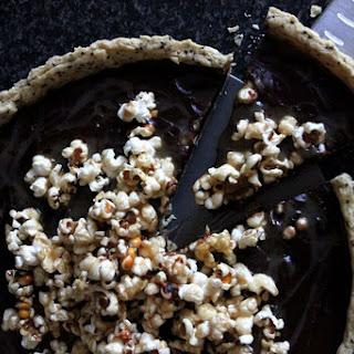 Chocolate and Salted Caramel Popcorn Tart [Vegan].
