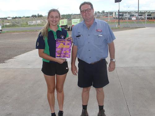 Georgie Hancock with Narrabri Lions president Ross Campbell.