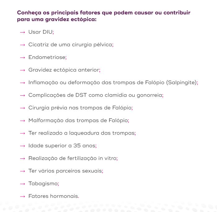 Principais fatores que podem causar ou contribuir para uma gravidez ectópica