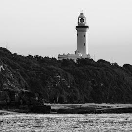 Norah Head Lighthouse by Mel Stratton - Buildings & Architecture Statues & Monuments ( water, cliffs, lighthouse, monument, beach, seascape, landscape,  )