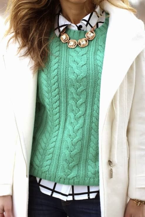 Pretty fall outfit with green knitted sweater, checked blouse and white coat for Clear Winter women