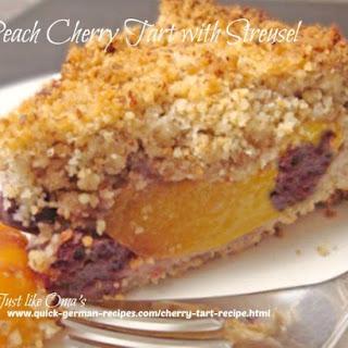 Peach Cherry Tart Recipe with Streusel