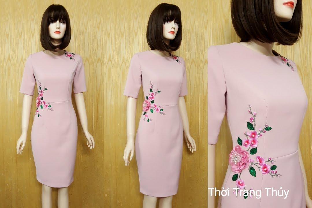 Váy bút chì dài công sở hoa thêu thủ công V509 Thời Trang Thủy