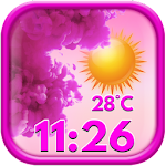 Pink Weather and Clock Widget Icon