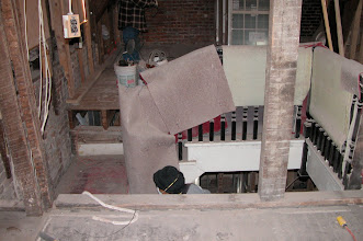 Photo: November 2004 - Month 15: Original rear stairway coming up into the Saba's living room. This steep and narrow servants' stair was removed and replaced with a new stair on the front of the house.