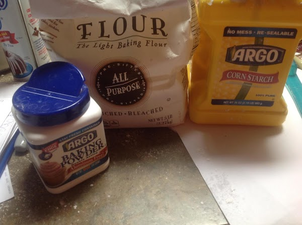 Sift flour baking powder salt and corn starch together into a medium bowl and...