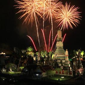 Legoland Wat Arun Fireworks by ChenLin Kng - City,  Street & Park  Amusement Parks ( reflection, wat arun, miniland, fireworks, night, legoland, lego )