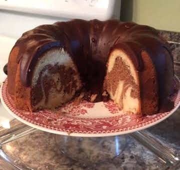 Old-Fashioned Marble Pound Cake & Chocolate Glaze