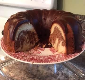 Old-Fashioned Marble Pound Cake & Chocolate Glaze