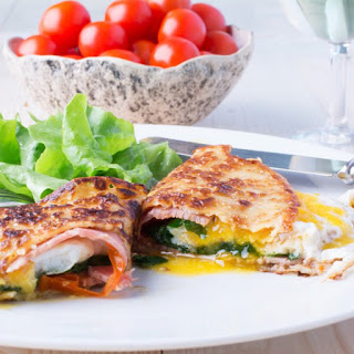 Crepes with Ham, Cheese and Cherry Tomatoes Recipe