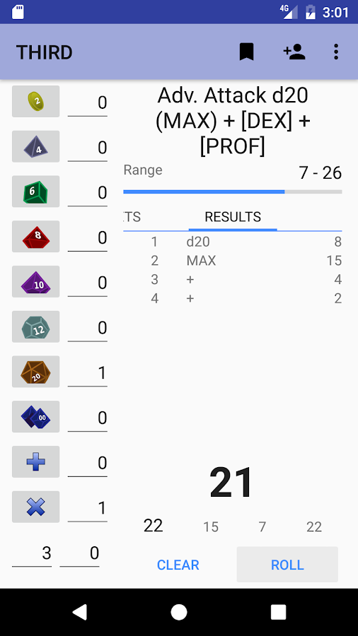 THIRD RPG dice roller- screenshot
