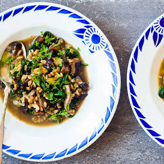 Farro, Mushroom, and Spinach Soup.