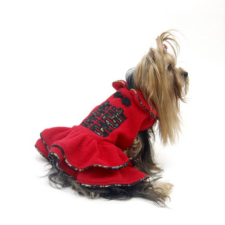 [Valentine PROMO] Red Color Double Happiness Dog Fleece Dress by Pets Manic
