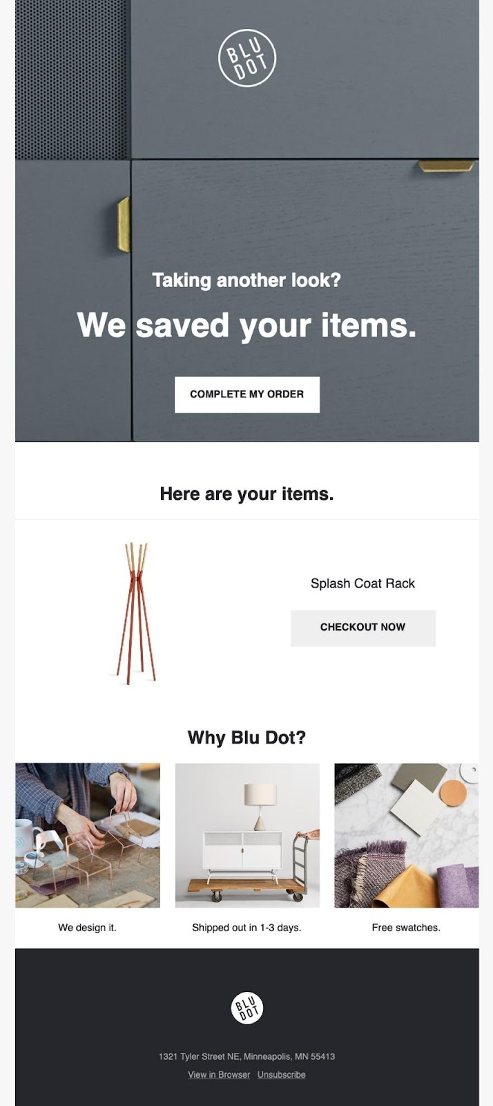 BlueDot abandoned cart email example