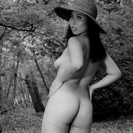 A Milliner's Dream by DJ Cockburn - Nudes & Boudoir Artistic Nude ( forest, woman, art nude, woodland, natural light, asian, cece, portrait, grayscale, outdoor, chinese, standing, monochrome, model, hat, black and white )