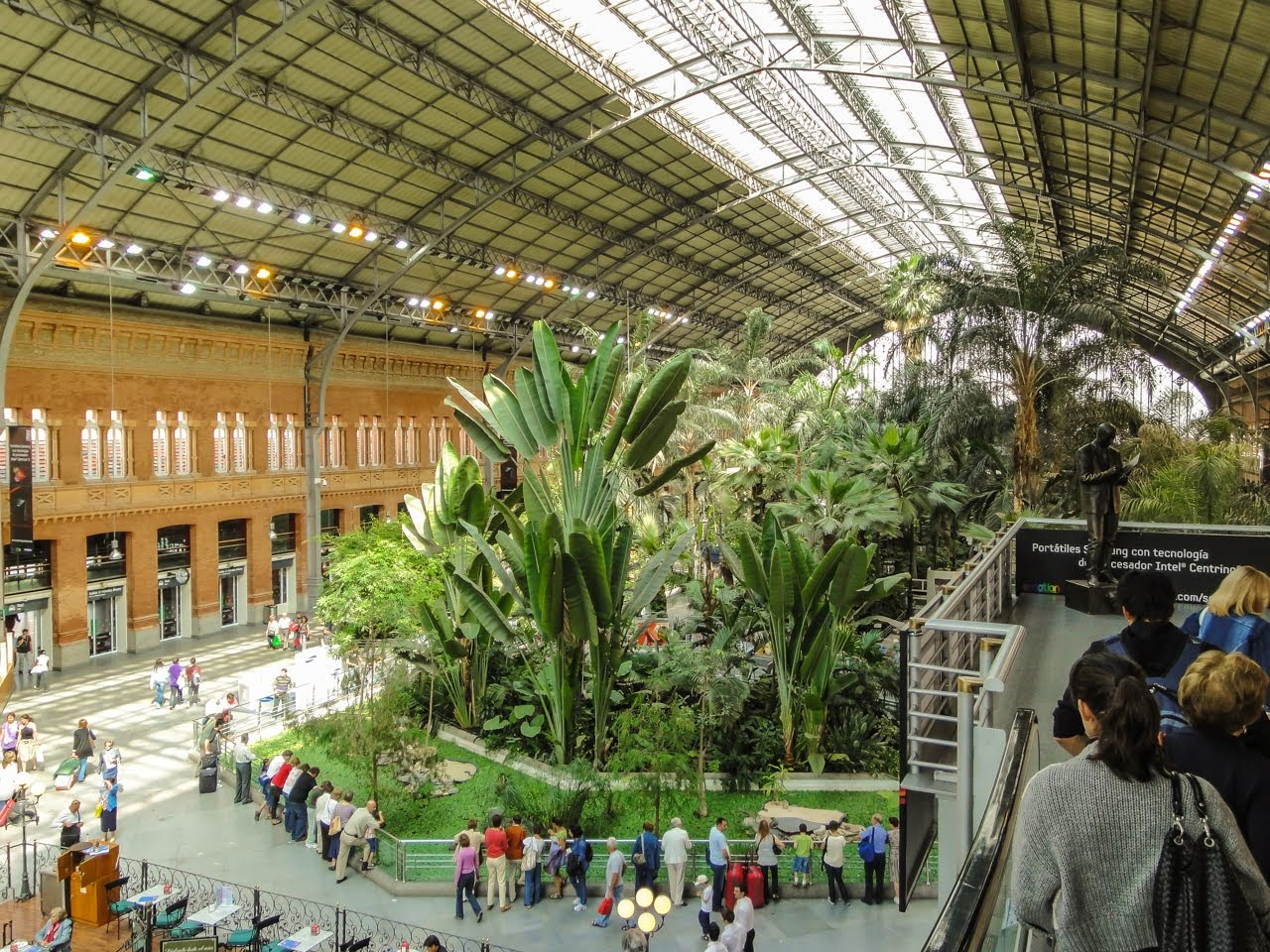 A tropical garden inside of the station