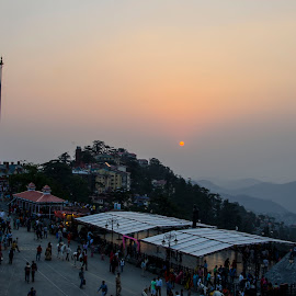 Sunset by The Ridge by Debasish Chatterjee - City,  Street & Park  Street Scenes (  )