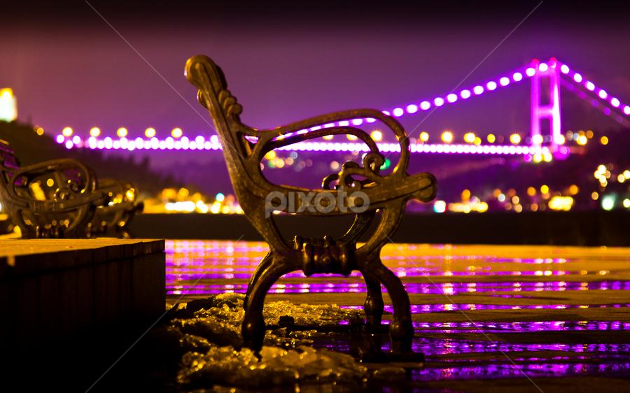 Night Rest by AhMet özKan - City,  Street & Park  City Parks ( bench, bosphorus, pwcbenches, night, bridge, rest, istanbul )