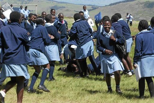 Pupils from Mdingi High school in Donnybrook in KwaZulu-Natal cheer as a boy and a girl fight.