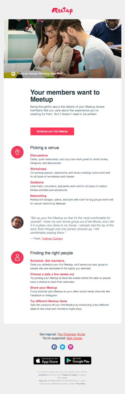 meetup personalization email example