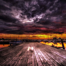 Sunset at Pier 4 by Sarah Hauck - Landscapes Sunsets & Sunrises ( clouds, water, reflection, sunset, boats, pier, dock )