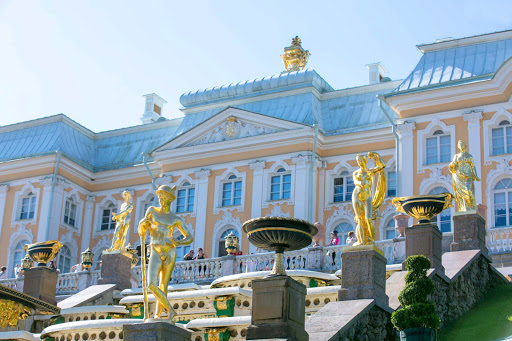 Peterhof-Palace-statues2.jpg - More than 200 statues and 144 fountains dot the 500-acre gardens of Peterhof Palace near St. Petersburg, Russia.