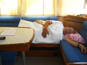Photo: Geçişte uyku düzeni: Salonda ; yalpalıkla bağlı ; 2,5 saat ; tilki uykusu. How do we sleep if not on watch.