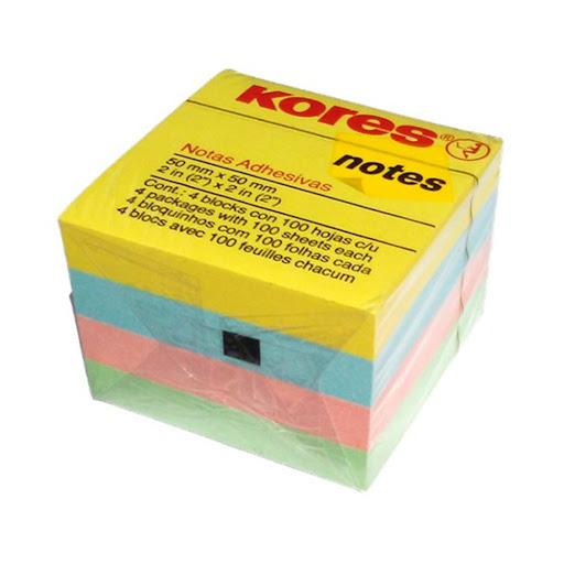 Cubo Kores Notas Pastel 400 Hojas 50X50Mm
