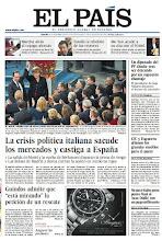 """Photo: La crisis política italiana sacude los mercados y castiga a España, Guindos admite que """"está mirando"""" la petición de un rescate y un diputado del PP dimite tras ser detenido por un supuesto chantaje, en la portada de EL PAÍS del martes 11 de diciembre. http://srv00.epimg.net/pdf/elpais/1aPagina/2012/12/ep-20121211.pdf"""