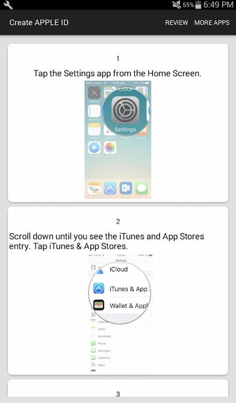 How To Create an APPLE ID screenshots