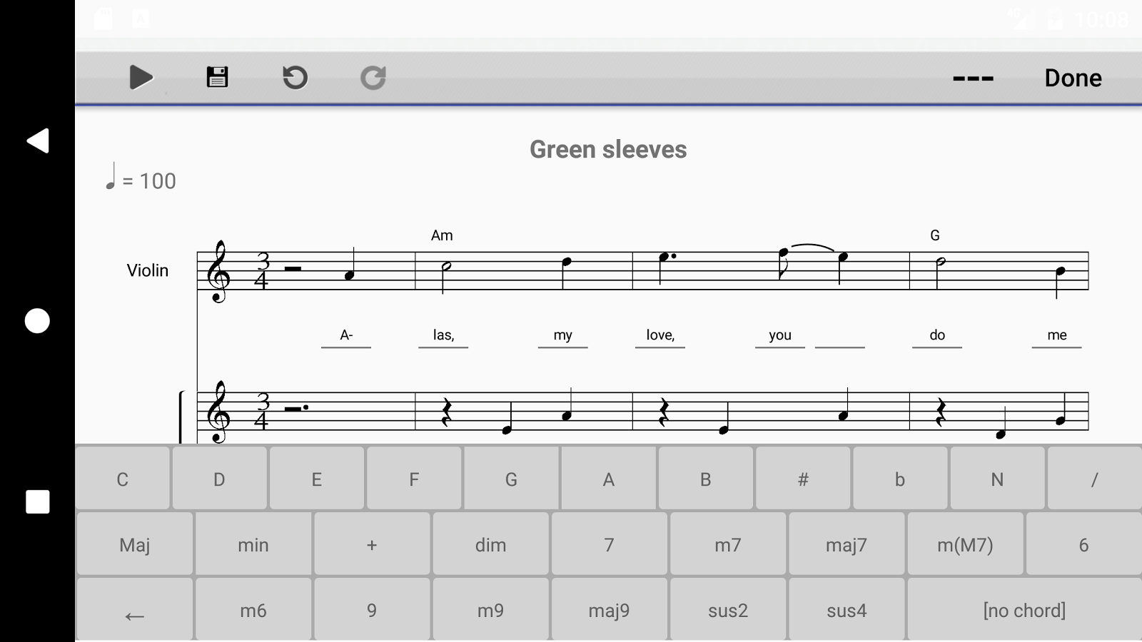 Music score writing android applications
