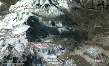 Photo: Google Earth view from little above muktinath to the summit.