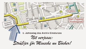 Straßenkarte mit Zugweg in der Severinstraße, knickt vor der Einsturzstelle ab.