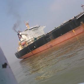 A Big Ship.. by Karthish Waran - Transportation Boats ( water, mumbai, ship, sony xperia l, ocean, working, smoke )