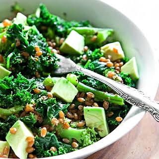 Delicious Green Salad with Avocado, Wheat Berries and Lemony Vinaigrette.