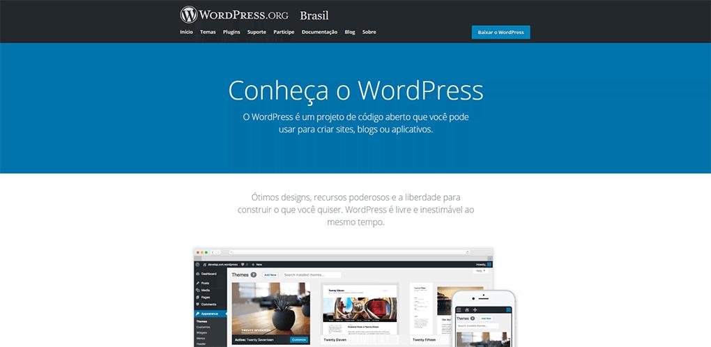 página inicial da plataforma wordpress