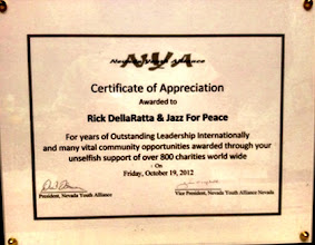 Photo: Certificate of Appreciation awarded to Rick DellaRatta and Jazz for Peace