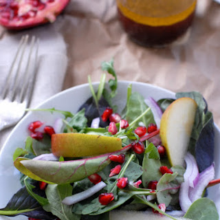 Pomegranate and Pear Winter Salad with Apple Cider Vinaigrette