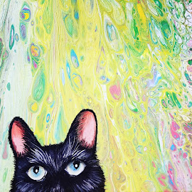 Black Cat by Melissa Toothman - Painting All Painting ( black cat, appalachia, colorfull, colors, painting, appalachia spark, acrylic, cat, artsy227, west virginia, melissa toothman, acrylic pour, wv )