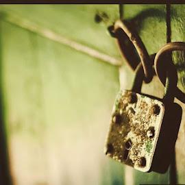 The door of Secrets by Anandarup Chatterjee - Artistic Objects Industrial Objects ( rust, door, lock, time, secrets )