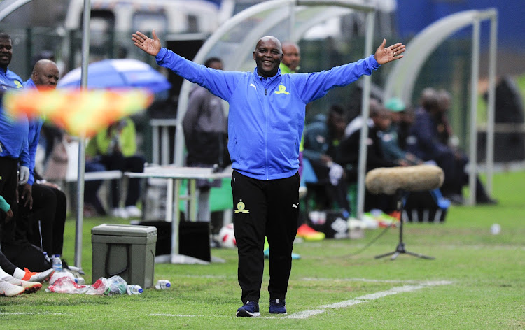 Pitso Mosimane, Coach of Mamelodi Sundowns FC questions the off-side call during the Absa Premiership 2018/19 game between AmaZulu and Mamelodi Sundowns at King Zwelentini Stadium on 15 September 2018.