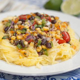 Spaghetti Squash with Black Bean Corn Salsa