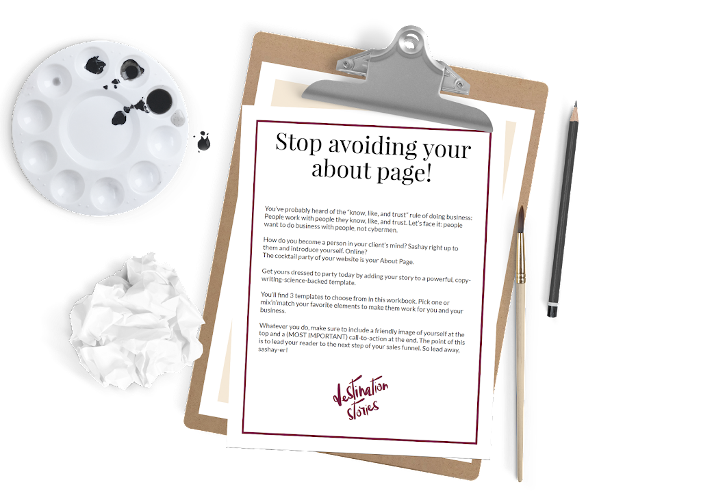Stop avoiding your about page! on a clipboard
