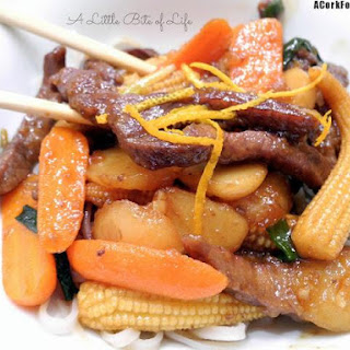 Orange Ginger Beef With Rice Noodles
